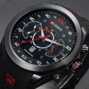 CURREN Роскошные брендовые военные спортивные часы, резиновые Модные кварцевые мужские повседневные часы с календарем и датой, водонепроница...