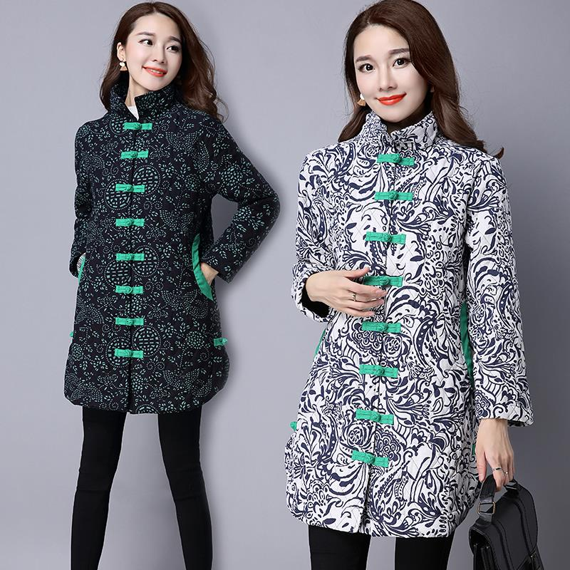 2018 New Winter Women Floral Printed Coats Chinese Style   Parka   Plus Size Ladies Long Cotton-Padded Jacket Female Outwear