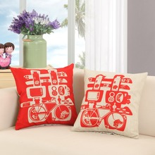 Chinese Style Couple Cushion Covers Wedding Happiness Pillow Covers 45*45cm Romantic Lovers Pillows Bed Sofa Chair Pillow Covers цены