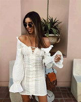 2018 New Arrival Solid Color White Dress Full Sleeve Off Shoulder Sexy Dresses Vestidos Ruffled Style Dress Women White Dress