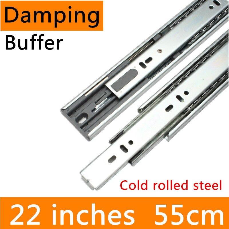 2 paires 22 pouces 55 cm tampon d'amortissement hydraulique laminé à froid en acier pleine Extension tiroir piste glissière meubles glissière Guide Rail