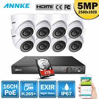 ANNKE 16CH HD 5MP POE Network Video Security System 8MP H.265+ NVR With 8X 5MP 30m EXIR Night Vision Weatherproof WIFI IP Camera