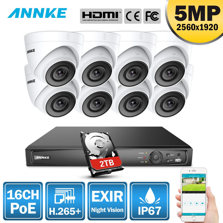 Annke 16ch hd 5mp poe rede sistema de segurança vídeo 8mp h.265 + nvr com 8x5 mp 30m exir visão noturna à prova de intempéries câmera ip wi-fi
