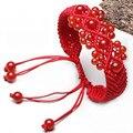 Строки трикотажные красный агат натуральный красный агат женщин браслет вязки красной строки браслеты женские аксессуары