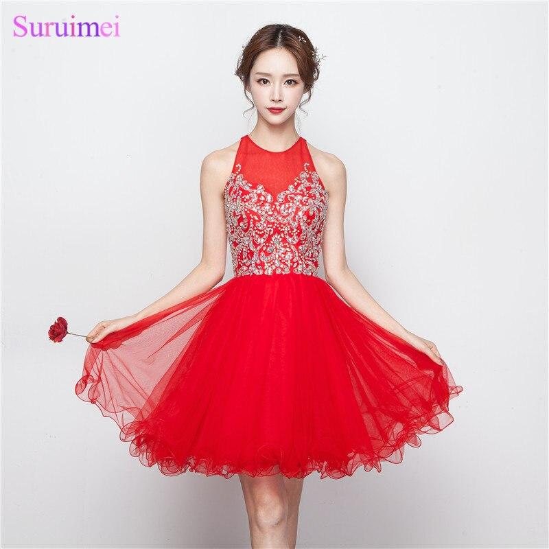 8th Grade robes formelles Vestido De Formatura Curto 2017 rouge courte perlée robes De bal trou clé bleu Royal robe De bal
