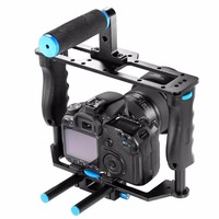 Professional DSLR Rig Video Camera Cage Rail 15mm Rod System Top Handle For Canon 5D Mark