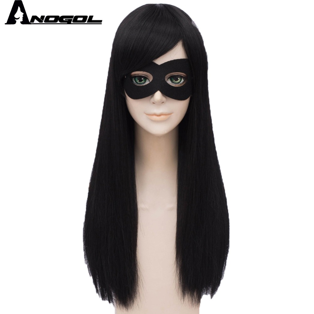 Anogol Hair+Cap Long Straight Cosplay Wig Synthetic Wig for Kids Multi-Colored Cosplay Wig Anime Wig for Halloween Party