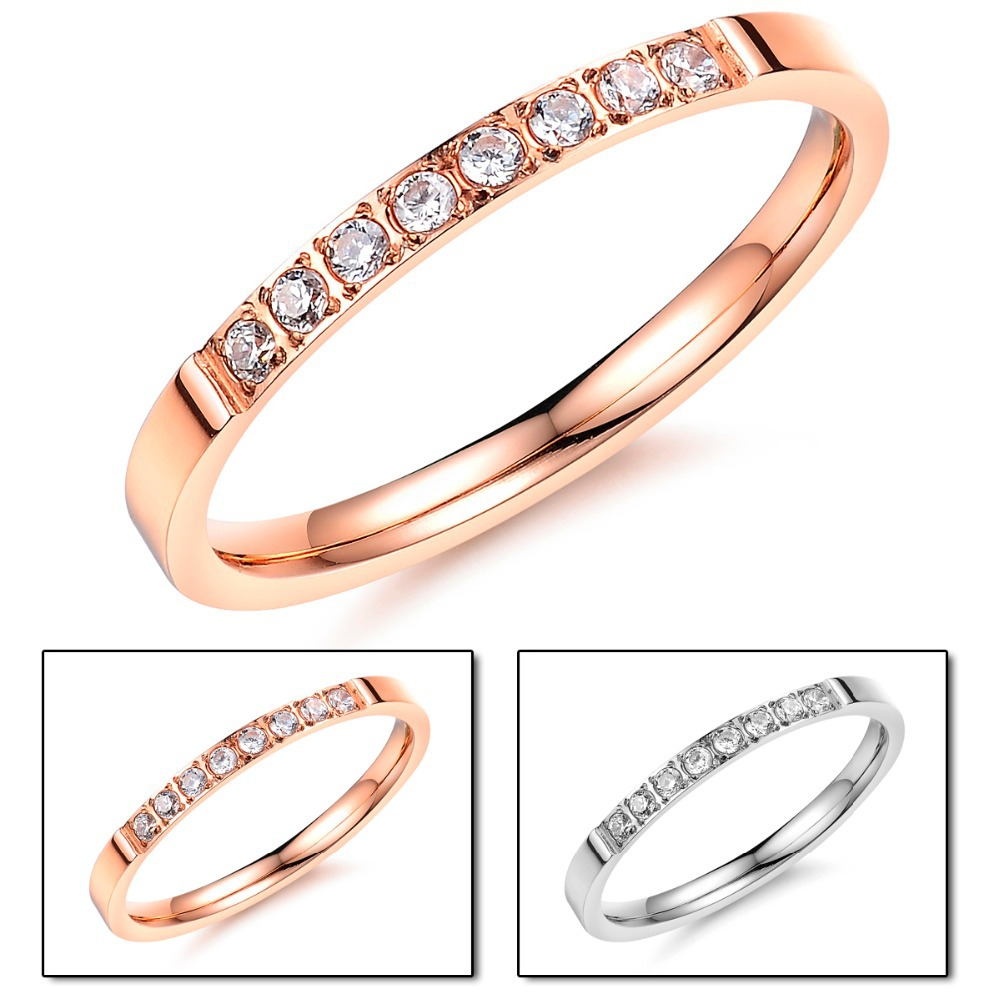 Never Darken Stainless Steel Cute Girl Pinky Ring Rose gold Color ...