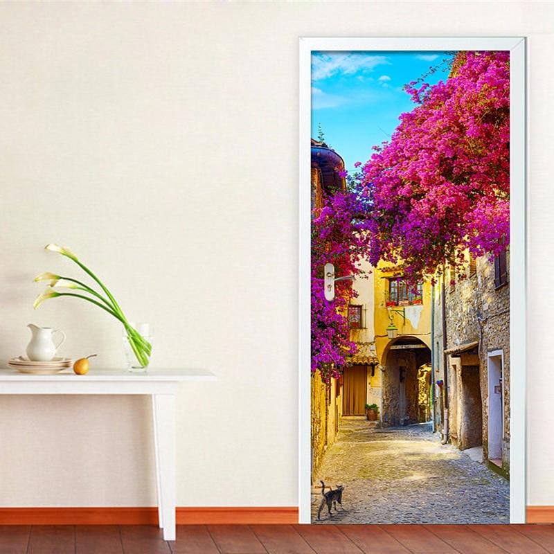 Romantic Town Street 3D Wall Door Sticker Living Room Restaurant Pastoral PVC Self-Adhesive Waterproof Door Decal Home Decor 3 D
