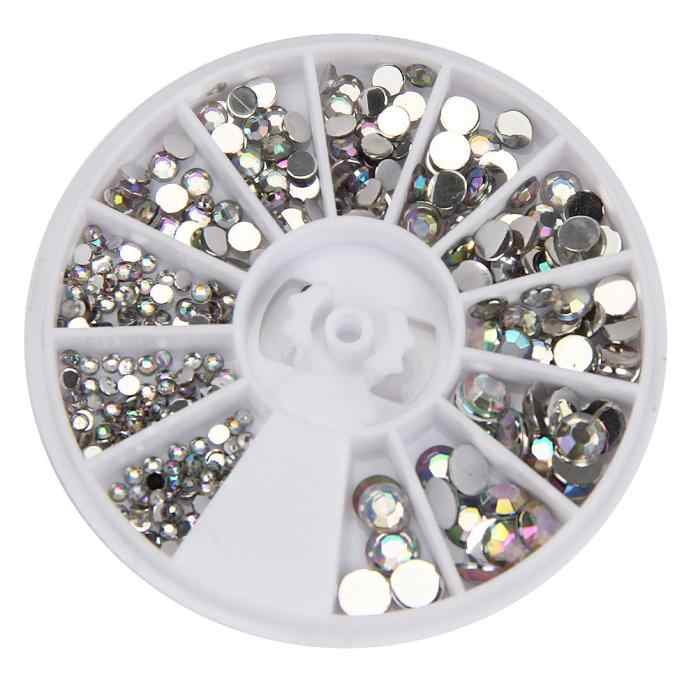 300 Pcs Round 3D Acrylic Nail Art Permata Kristal Rhinestones DIY Dekorasi Roda Nagel Spulletjes Steentjes Desain Drop Pengiriman