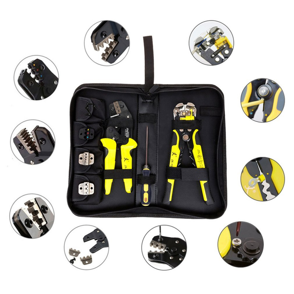 Functional JX-D4301 Ratchet Manganese steel Crimping Tool Wire Strippers Terminals Pliers Kit P10 With Cable Cutter