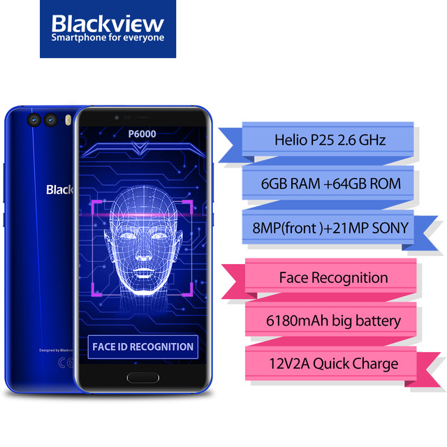 Originale Blackview P6000 Viso ID Smartphone MT6757 Octa Core 6180 mah RAM 6 gb di ROM 64 gb 5.5