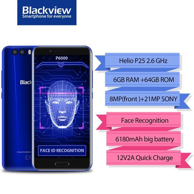 Origine Blackview P6000 Visage ID Smartphone MT6757 Octa Core 6180 mah RAM 6 gb ROM 64 gb 5.5 FHD 21MP Android 7.1 4g Mobile téléphone
