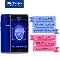 original Blackview P6000 Face ID Smartphone MT6757 Octa Core 6180mAh RAM 6GB ROM 64GB 5.5FHD 21MP Android 7.1 4G Mobile phone