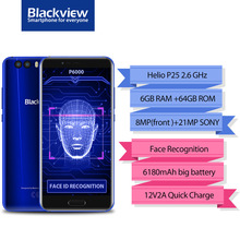 original Blackview P6000 Face ID Smartphone MT6757 Octa Core 6180mAh RAM 6GB ROM 64GB 5.5″FHD 21MP Android 7.1 4G Mobile phone