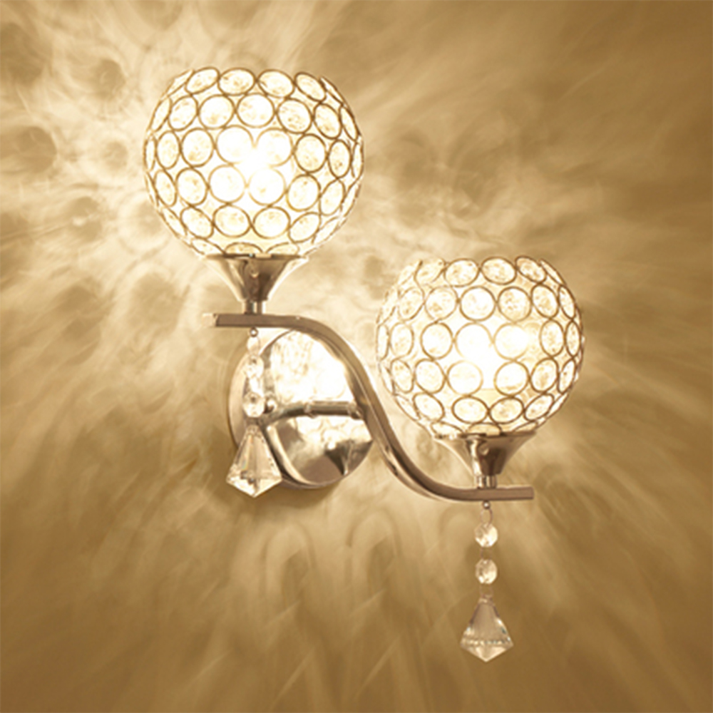 HGhomeart Modern Wall Sconce Crystal Luminaria E27 Wall Light 110V-220V Wall Mounted Bedside Lamps Reading Lamps Wall Mounted