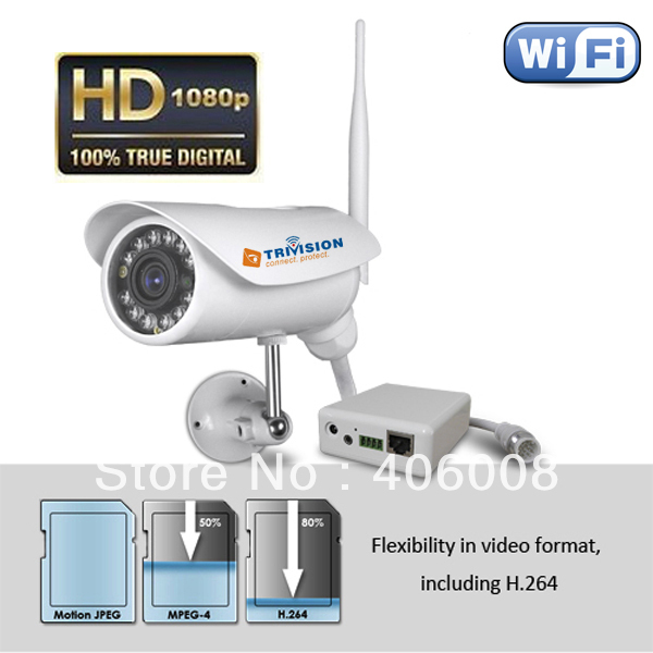 2.0 megapixel 1080p hd camera ip waterproof outdoor wireless wifi  with free iPhone app, android app, PC app + Free shipping