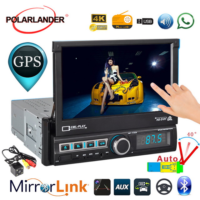 Touch Screen Radio cassette player Retractable Car GPS Navigation U Disk Playback Reversing Image Bluetooth Autoradio1 DIN 7 Inc