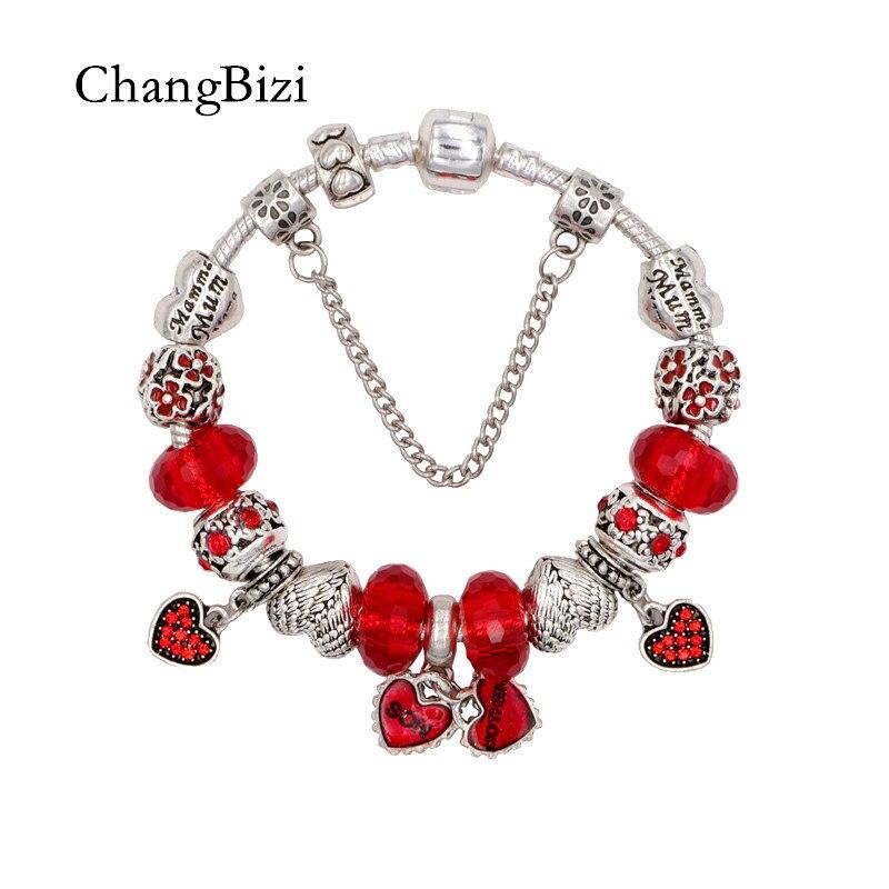 ChangBizi High quality DIY Heart Pendant Red Beads Cute Charm Pandora Bracelets Bangles Famous Brand Women Jewelry BT0038