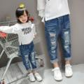 Dressnomore New 2017 Spring Summer Jeans For Girls Loose Elastic Waist Ripped Denim Pants Children Clothing Kids Jeans Fille