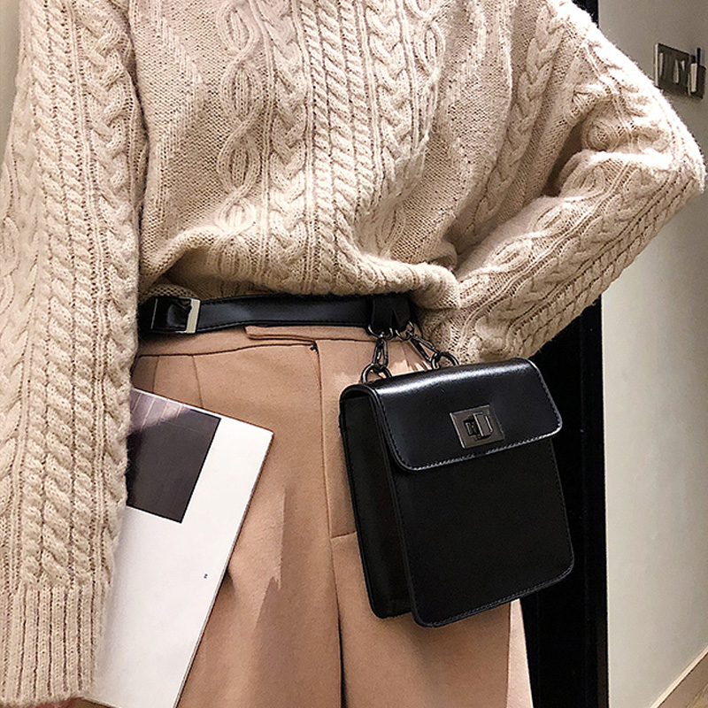 PU Waist Bag 2019 New Women's Waist Pack Fashion Crocodile Pattern Belt Bag Ladies Small Square Bags Chest Shoulder Bags Mobile