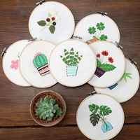 DIY Manual Production 3D Flower Plants Cloth Creative Embroidery Needlework Cross Stitch With Frame Set For Beginners 8 Styles