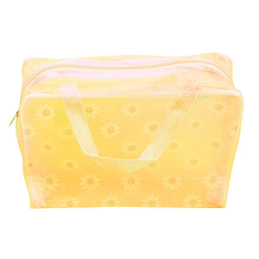 Fashion Storage Bag Waterproof Sundries Organizer Swimming Storage Pocket Toiletry Pouch Transparent Travel Makeup Floral Print