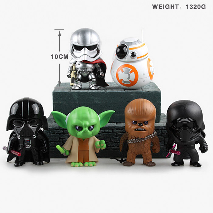 Star Wars 7 The Force Awakens Kylo Ren Phasma BB-8 Yoda Darth Vader Chewbacca PVC Action Figures Collectible Toys 10cm 6pcs/set