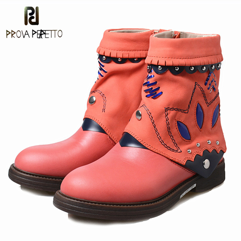 Prova Perfetto Winter New Women Genuine Leather Boots Vintage Style Flat Booties Soft Cowhide Women's Shoes Side Zip Ankle Boots maylosa 2017 vintage style genuine leather women boots flat booties soft cowhide women s shoes zip ankle boots warm winter shoe