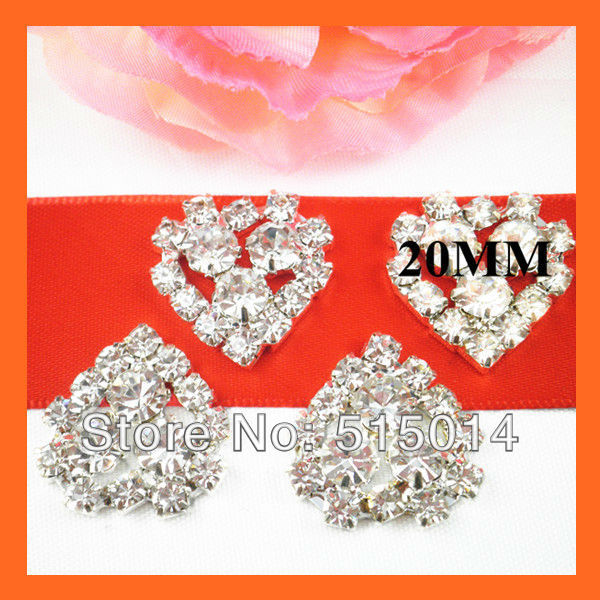 Free Shipping!100pcs/lot 20mm Heart Crystal Rhinestone Embellishment ,Silver Plated ,Without Pin For Invitation Card