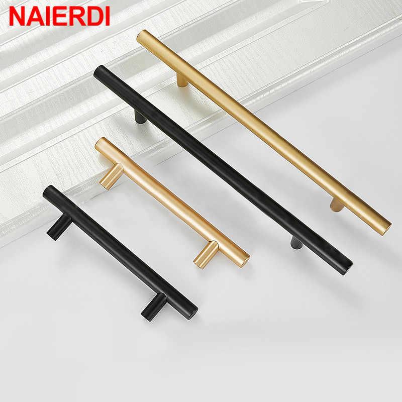 NAIERDI fırçalanmış siyah altın düz dolap kolları kolları paslanmaz çelik fırçalanmış siyah altın mutfak kapı kolları dolap çekme