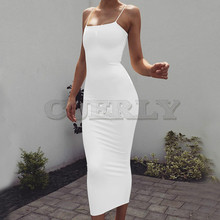 CUERLY Sexy Strap Bodycon Midi Dress Women Summer Black White Red Sleeveless Basic Party Night Long Autumn