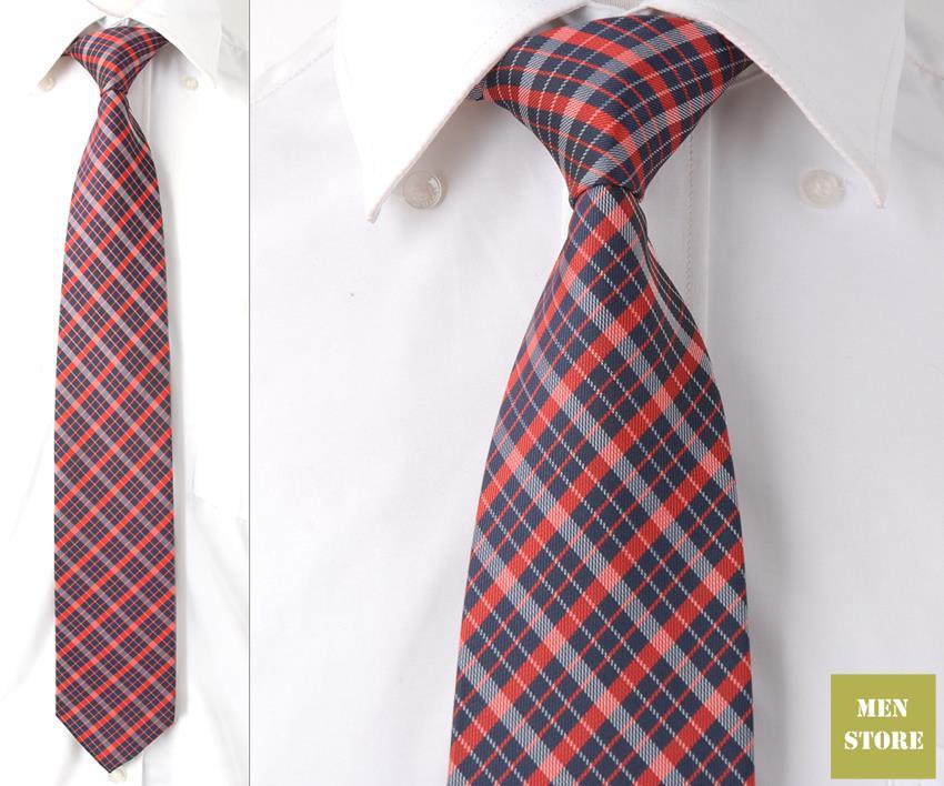 """Темно-синий красный, белый плед проверки Для мужчин жаккард Шелка ручной работы """" галстук 8 см галстуки Свадебная вечеринка жениха галстук DT093"""