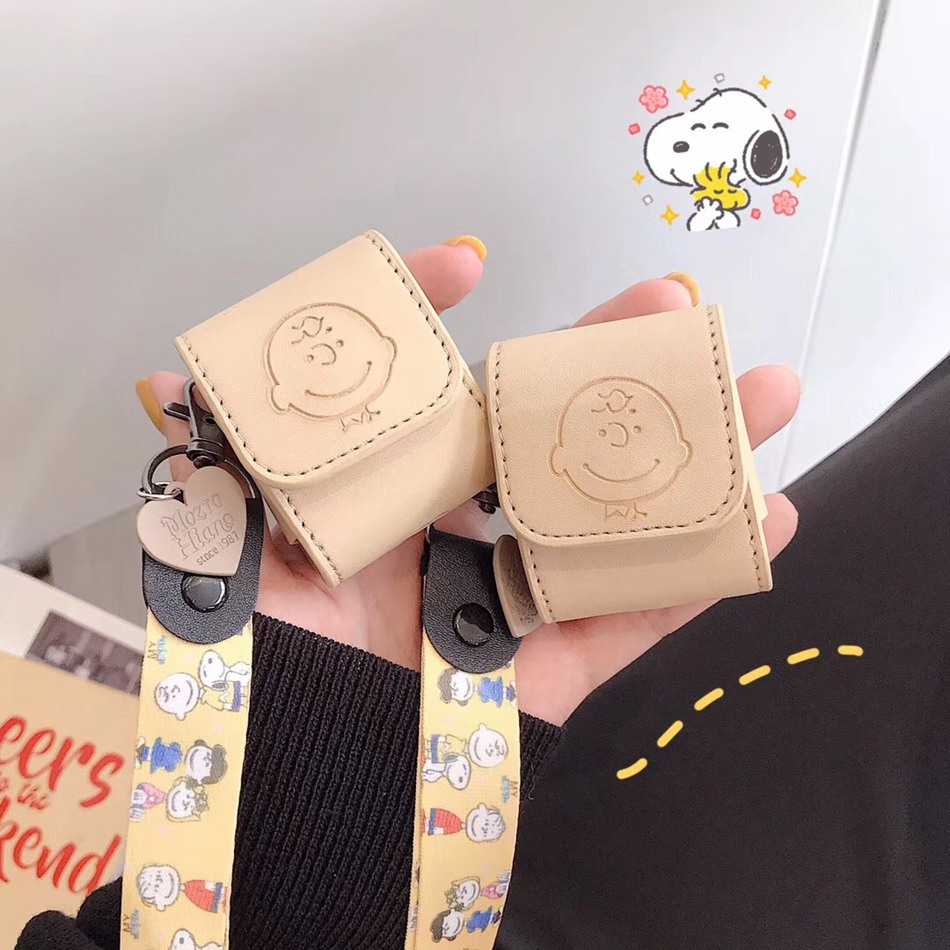For AirPods Case Leather Charlie Earphone Case For Airpods 1 2 Cover Wireless Earphone Pouch Pocket Bag For Earpods Cartoon Bag