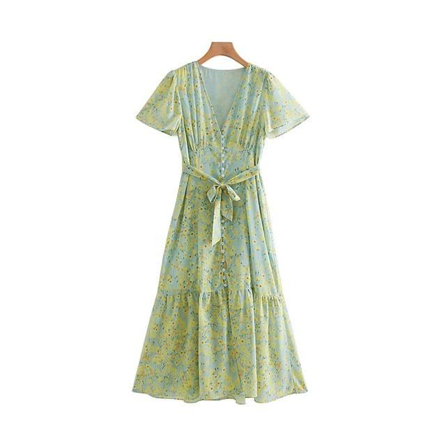 Women Floral Print Dress V...