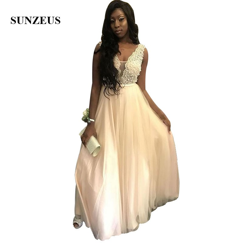 Long Tulle   Prom     Dress   A-line Pearls Lace Party Gowns V-neck Tank Floor Length Black Girl vestido para formatura
