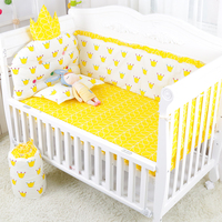 Good Elastic Bumpers And Bed Sheet Set Cute 5pcs Cotton Baby Bedding Set Soft Removable Soft Infant Kids Baby Crib Bedding Set