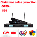 Wireless Microphone System brand UGX9 Professional Microphone 2 Channel UHF Dynamic Professional 2 Pocket Microphone + Karaoke