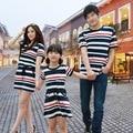 Родитель-ребенок наряд летом носить с короткими рукавами темно ветер полосой платье случайный наряд три семьи матери и дочь