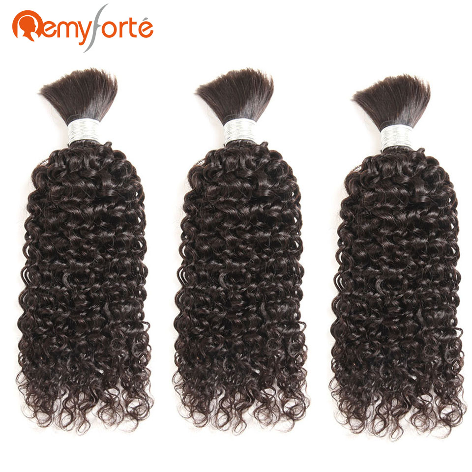 Human-Hair Curly Forte Single-Bundles Bulk Wholesale Remy 30inch Braiding Lots title=