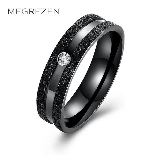 MEGREZEN Stainless Steel Men Black Ring Anillo De Titanio Negro