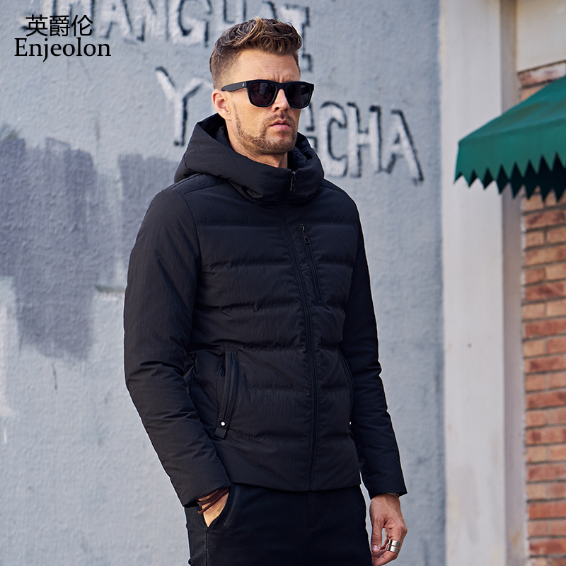 Enjeolon brand thicken winter down hooded jacket men light parka coat black Gray coat for men 3XL down parka MF0114