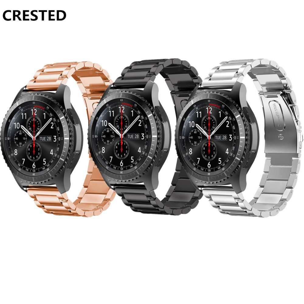 CRESTED Sport watch band For Samsung Gear S2/S3/S4 Huawei strap stainless steel metal wristband bracelet belt 23mm 22mm 20mm 18 стоимость