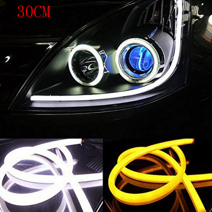 2PCS 30CM Angel Eye Daytime Running Light Tube Soft Flexible Car Styling LED Strip DRL White Yellow Blue Red Turn Signal Lights 2pcs 45cm 10w auto car silicone tube style flexible strip light headlight angel eye drl led daytime running light lamp white 12v