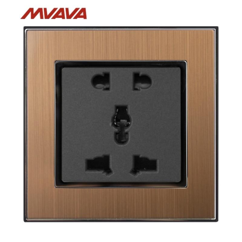 MVAVA 5 Pin Outlet Universal Power Wall Socket 10A AC110-250V Gold Satin Metal 2 Pin 3 Pin Plug EU UK US Socket Free Shipping разъём lj 60599 3 conn pc pin circ 0 058dia gold