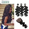 Brazilian Virgin Hair With Closure Hair Product Brazilian Hair Weave Bundles With Closure Brazilian Body Wave With Closure 11a