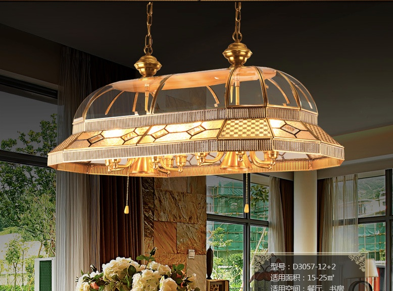Newly Brass Candle Chandelier AC90-260V 10 Arms Lamps Glass Lampshade Copper Material Chandelier Big Size Living Room Chandelier