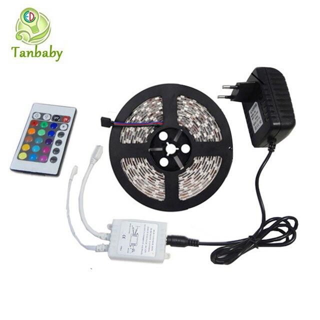 Tanbaby DC12V 24Key levou controlador tira conduzida 3528 5 M À Prova D' Água (apenas para RGB Strip) + 24 W adaptador de energia em casa decoração luz