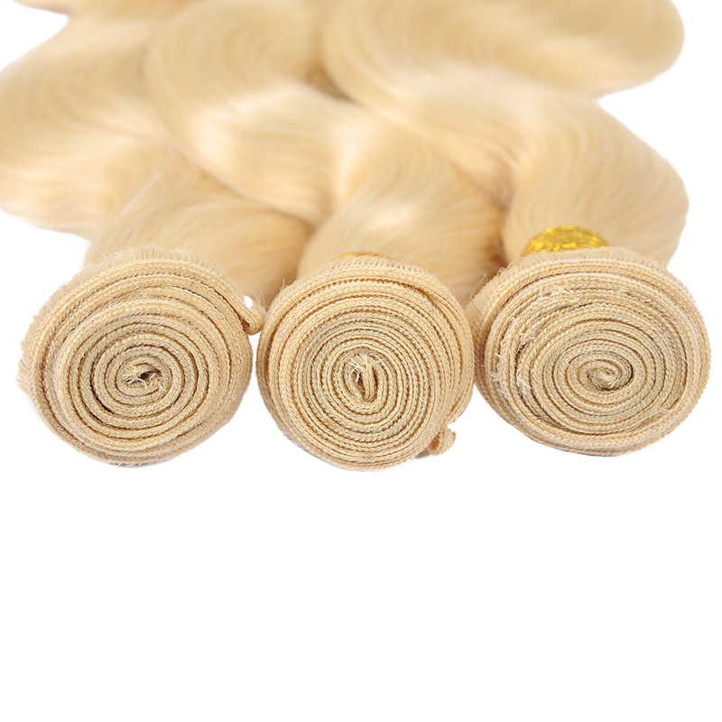 Remyblue 613 мёд светлые пучки тела волна бразильские волосы плетение пучков 100% человеческих волос пучки волосы remy расширение 10-26 дюймов