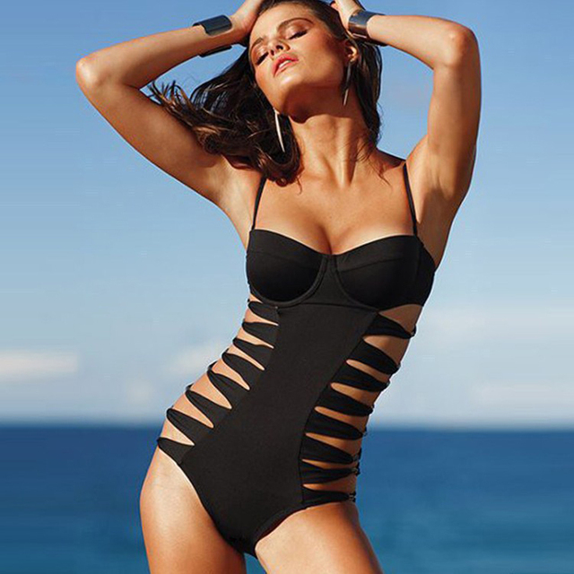 f921aa8e2e New Women s Sexy Side Hollow Out Swimwear High Waisted Bathing Suits One  Piece Swimsuits Black Monokini Swimsuit Maillot de Bain